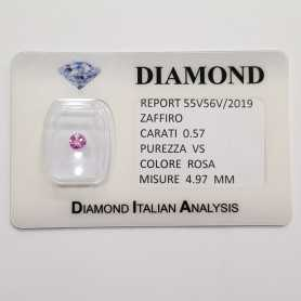 PINK SAPPHIRE ROUND CUT 0.57 CT BLISTER CERTIFICATE