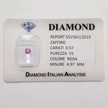 Pink sapphire round cut 0.57 CT in certified BLISTER