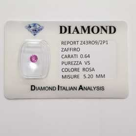 PINK SAPPHIRE ROUND CUT 0.64 CT BLISTER CERTIFICATE