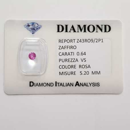 Pink sapphire round cut 0.64 CT in certified BLISTER