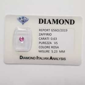PINK SAPPHIRE ROUND CUT 0.63 CT BLISTER CERTIFICATE
