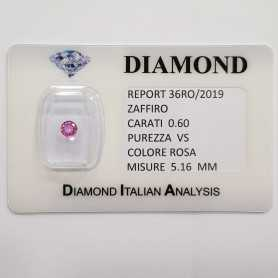 PINK SAPPHIRE ROUND CUT 0.60 CT BLISTER CERTIFICATE