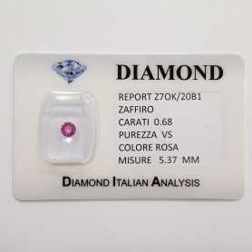 PINK SAPPHIRE ROUND CUT 0.68 CT BLISTER CERTIFICATE
