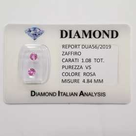 PINK SAPPHIRES ROUND CUT 1.08 CT TOTAL in BLISTER CERTIFICATE