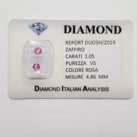 PINK SAPPHIRES ROUND CUT 1.05 CT TOTAL in BLISTER CERTIFICATE