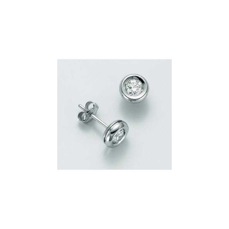 Orecchini Punto Luce in oro 18 Kt e diamanti naturali 0,18 ct prezzo imbattibile