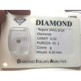 DIAMOND 0.32 CARAT VS1 G COLOR blister - lotto 0,30