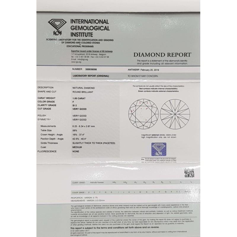 Diamant Certifié IGI 1.00 F SI2 - REP355936056