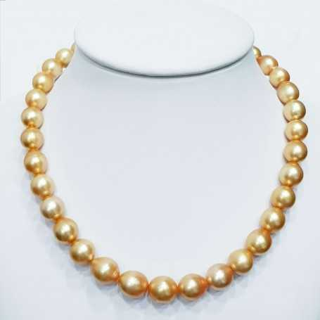 Thread pearl necklace AUSTRALIA GOLD measures from 10 to 13.7 mm length 42cm