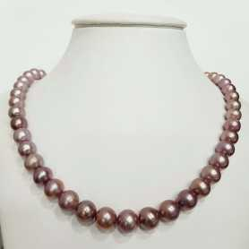 Wire NECKLACE with PEARLS, BIWA PURPLE Measuring 11 to 13 mm, Length 42 cm