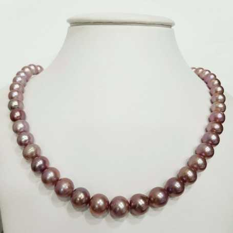Purple Biwa pearl necklace thread measures from 11 to 13 mm length 42 cm