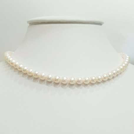 Wire NECKLACE AKOYA PEARLS WHITE size 5 - 5.5 mm Length 40 cm
