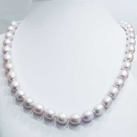 Strand necklace Oval beads Biwa pink size from 11 to 12 mm length 40 cm