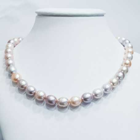 Biwa MULTICOLOR Oval pearl necklace thread size from 11 to 12mm length 40cm