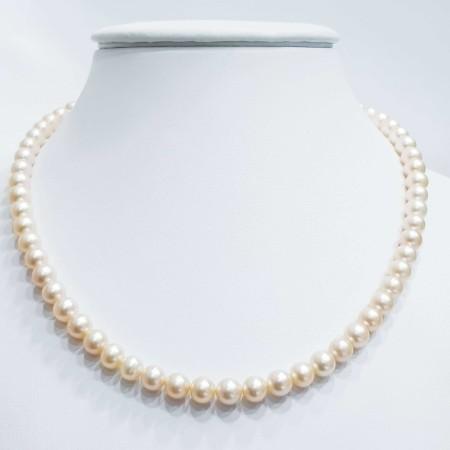 Strand necklace beads BIWA salmon size 7.5 mm length 40cm