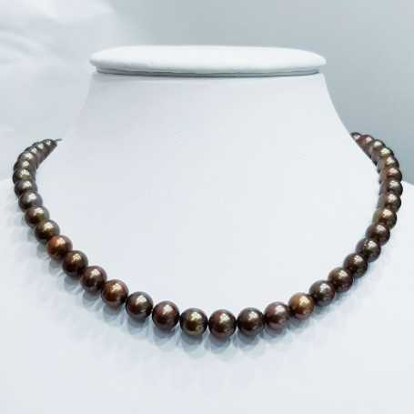 Strand necklace beads BIWA BROWN size from 8.5 to 9mm length 40cm