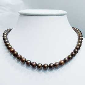 Wire NECKLACE with PEARLS BIWA BROWN Measuring 6 to 6.5 mm Length 40 cm