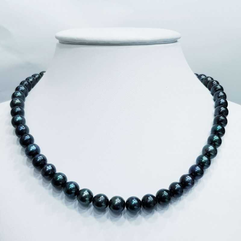 Wire NECKLACE with PEARLS BIWA BLACK Measure from 9.5 to 10 mm