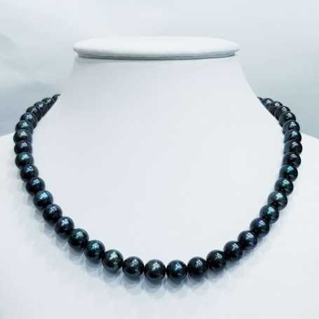 Biwa black pearl necklace thread measures from 9.5 to 10 mm