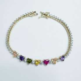 TENNIS BRACELET HEARTS SILVER RHODIUM plated 18cm with SAPPHIRES and cubic ZIRCONIA