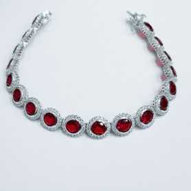 TENNIS BRACELET in SILVER RHODIUM plated 18cm with SAPPHIRES and cubic ZIRCONIA RED