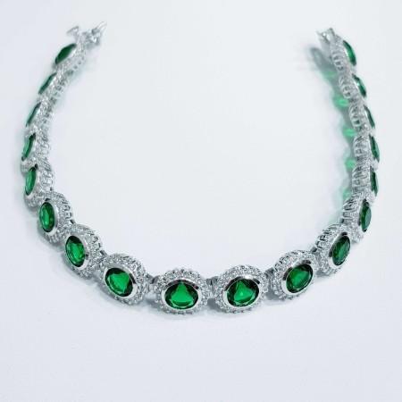Tennis bracelet in rhodium silver 18cm with green zircon sapphires
