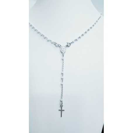 Pendant rosary in 925 silver with beads (two colors available)
