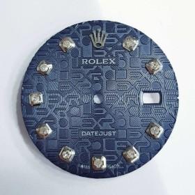 Cadran BLEU en Relief avec des Diamants pour Rolex Datejust - VERRE SAPHIR