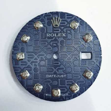 Blue embossed dial and diamonds for Rolex Datejust-sapphire crystal