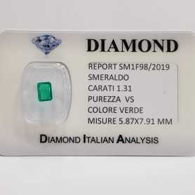 EMERALD EMERALD 1.31 CT VS CERTIFIED in BLISTER