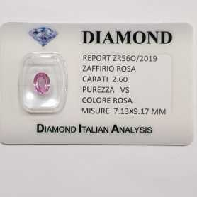 PINK SAPPHIRE OVAL-CUT 2.60 CT in BLISTER CERTIFICATE