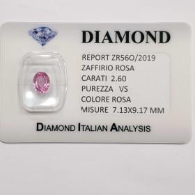 ZAFFIRO ROSA TAGLIO OVALE 2.60 CT in BLISTER CERTIFICATO