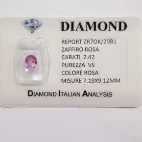 PINK SAPPHIRE OVAL CUT 2.42 CT BLISTER CERTIFICATE