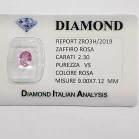 PINK SAPPHIRE OVAL CUT 2.30 CT BLISTER CERTIFICATE