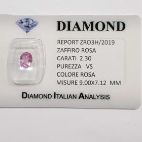 ZAFFIRO ROSA TAGLIO OVALE 2.30 CT in BLISTER CERTIFICATO