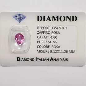 PINK SAPPHIRE OVAL CUT 4.60 CT BLISTER CERTIFICATE