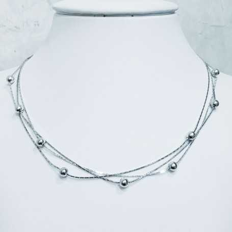 NECKLACE with beads, SILVER RHODIUM-plated WHITE GOLD