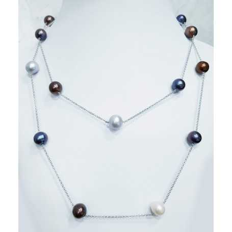 SILVER NECKLACE with PEARLS BIWA of JAPAN MULTI COLOR