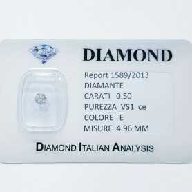 DIAMANTE NATURALE 0.50 CARATI E COLOR VS 1 CE lotto 1.00