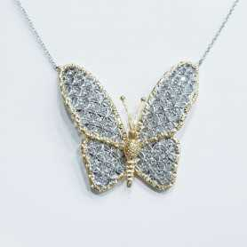 Necklace BUTTERFLY Gold 18 kt White and Yellow High Italian Manufacture