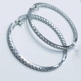 Hoop boucles d'oreilles avec Diamants en Or 18 kt Blanc italien de la Fabrication