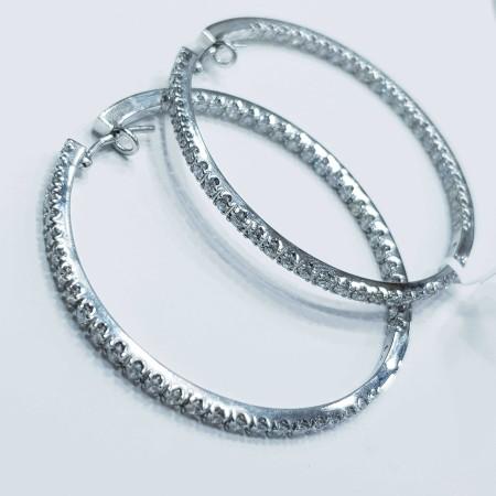 Orecchini a Cerchio con Diamanti in Oro 18 kt Bianco Alta Manifattura Italiana