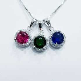 PENDANT SILVER 925 RHODIUM-plated WHITE GOLD with GEMS MULTI COLOR