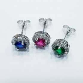 EARRINGS in SILVER 925 RHODIUM-plated WHITE GOLD with GEMS MULTI COLOR
