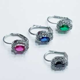 EARRINGS OVAL 925 SILVER RHODIUM-plated WHITE GOLD with GEMS MULTI COLOR