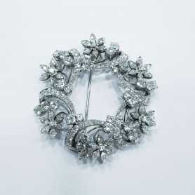 Brooch in Platinum with Diamonds - High Italian Manufacture