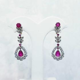 Boucles d'oreilles de Diamants et de Rubis - 50% de RABAIS