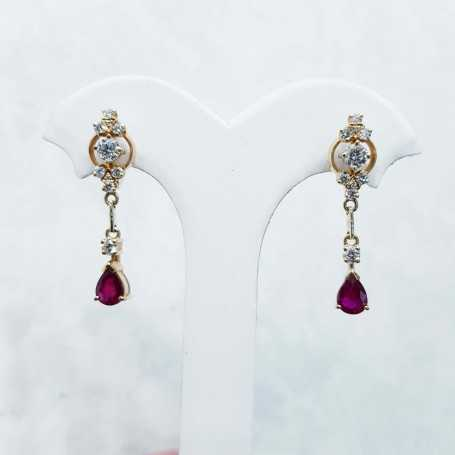 Earrings diamonds and rubies gold 18 KT-discount 50% lot 2.00