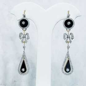 Earrings in Gold 18 kt Onyx and Diamonds - a 50% DISCOUNT on Lotto 1.50