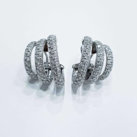 Boucles d'oreilles en Or 18 kt avec des Diamants de 2,60 ct vvs f couleur